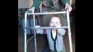 Baby takes first steps with 90 year old great-grandmother