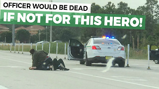 After Car Chase, Suspect Almost Beats Cop To Death Until Hero Saves Him - Video