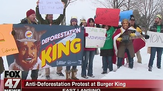 Anti deforestation protest outside Burger King - Video