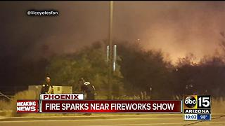 Brush fire breaks out at location of north Phoenix fireworks show - Video