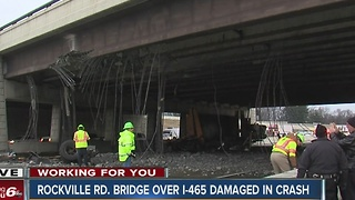 Rockville Road bridge over I-465 damaged in crash - Video
