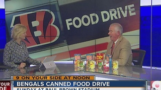 Bengals canned food drive for Freestore Foodbank - Video