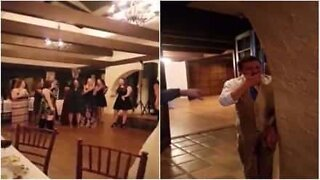 Woman catches wedding bouquet and her boyfriend's reaction is hilarious!