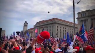 President Donald J Trump with Marine One Surprise Flyover DC March For Trump, Freedom Plaza
