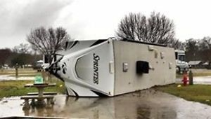 Strong Winds Overturn Camper at Marksville Campground - Video