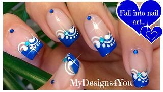 Blue French tip nail art design - Video