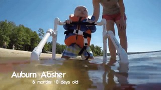 'World's Youngest Water Skier' Takes to the Water for the First Time - Video
