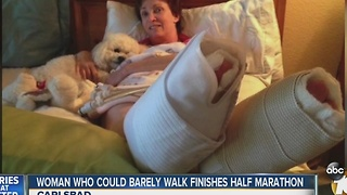 Woman who could barely walk finishes Carlsbad marathon - Video