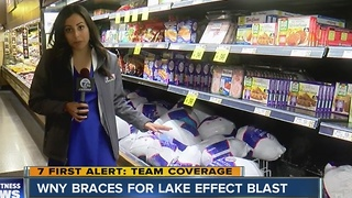 Shoppers stocking up before snow and Thanksgiving - Video