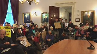 Demonstrators Occupy State House in Vermont Protest Against the Electoral College