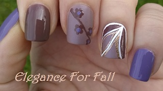Brown & purple elegant flower nail design