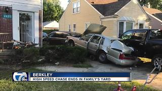 High speed chase ends in Berkley family's yard - Video