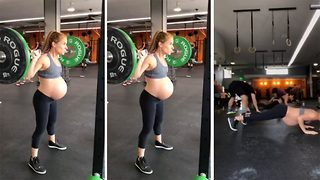 Ready to pop! Heavily pregnant fitness fanatic shares intense workout - Video