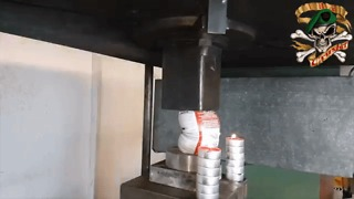 Hydraulic Press Creates Massive Explosion With Cleaning Products - Video