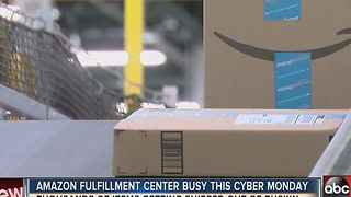 Amazon fulfillment center busy this Cyber Monday - Video