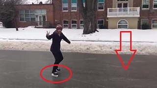 Freezing rain storm allows for street skating in Canada - Video