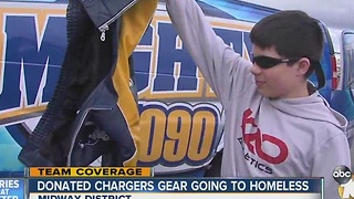 Donated Chargers gear going to homeless - Video