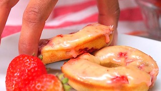 Strawberry Buttermilk Donuts with Strawberry Glaze - Video