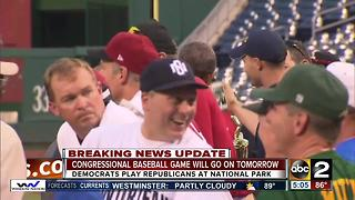 Congressional Baseball Game will go on as scheduled - Video
