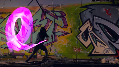 Using light to paint graffiti in abandoned college