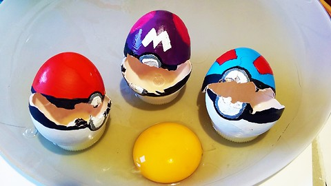 Paint your own Pokeballs using hard boiled eggs