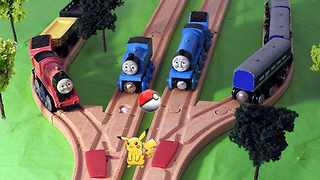 Thomas & Friends Gordon gets Pokemon Go Fever on the Wooden Railway