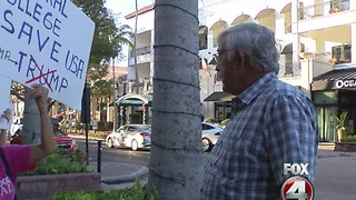 Anti-Trump protesters march in downtown Naples - Video