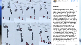 Unconscious man rescued from ski lift - Video