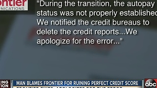 Man blames Frontier for ruining perfect credit score - Video