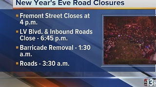 Las Vegas road closure information for New Year's Eve