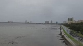 Water Recedes in Tampa Ahead of Hurricane Irma - Video