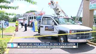 Worker dies in Palm Harbor after being trapped in lift while working on sign - Video