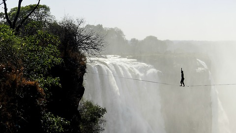 Athletes Cross Highline 100 Metres Above Victoria Falls