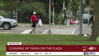 Cleaning up trash on the Plaza