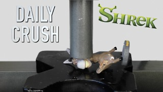 Hydraulic press crushes Donkey from Shrek - Video