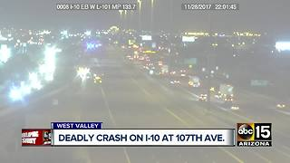Deadly crash shuts down I-10 at 107th Avenue - Video