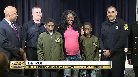 Detroit Fire Department honors woman who saved driver in trouble