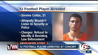 IU football player arrested at concert - Video