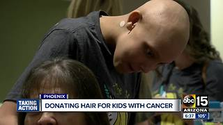 Patients donate hair at Phoenix Children's Hospital for children with cancer