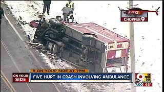 5 hurt in crash involving ambulance - Video