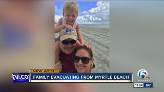 Family evacuating from Myrtle Beach in anticipation of Florence - Video