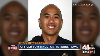 Tom Wagstaff, Independence officer shot on duty, returns home after months of rehabilitation - Video