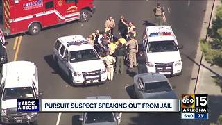 Pursuit suspect speaking out from jail after 60 mile chase - Video