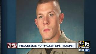 DPS holds procession for fallen Trooper - Video