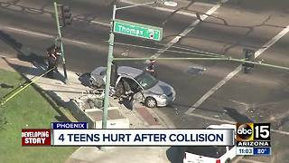 Four teens hospitalized after west Phoenix crash - Video