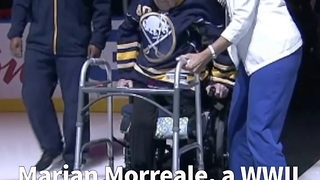94-Yr-Old WWII Veteran With One Leg Stands For National Anthem At Sabres Game - Video
