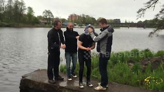Bachelor party friends play bungee jump prank on groom - Video