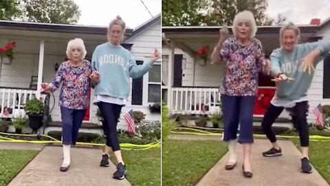 95-year-old grandma does the Taylor Swift 'Love Story' challenge