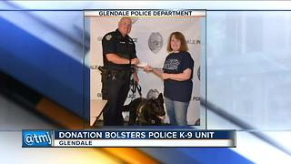 Generous Glendale woman helps keep police department's K-9 program alive - Video