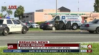 Police presence at crash on Bayshore Road in North Fort Myers - Video